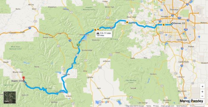 Denver to Aspen Map