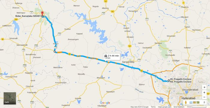 Hyderabad to Bidar